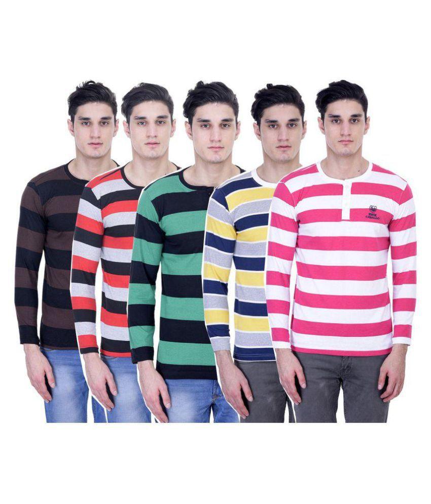 John Caballo Multi Henley T-Shirt Pack of 5