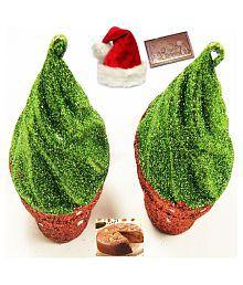Ghasitaram Gifts Set Of 2 Cupcakes Hanging With Christmas Chocolate Bar And Plum Cake