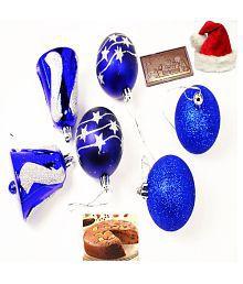 Ghasitaram Gifts Set Of 6 Christmas Decoration With Christmas Chocolate Bar And Plum Cake