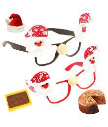 Ghasitaram Gifts Set Of 2 Santa Specs With 2 Reindeer Hand Bands With Christmas Chocolate Bar