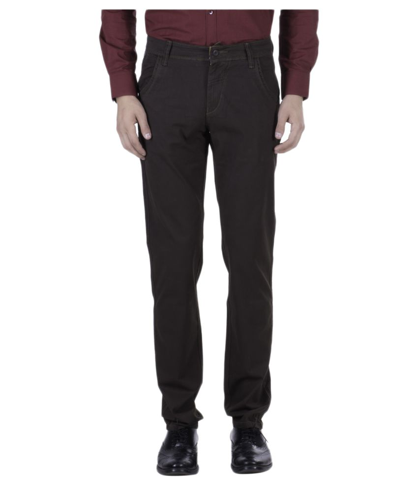 Hoffmen Brown Slim Flat Trouser