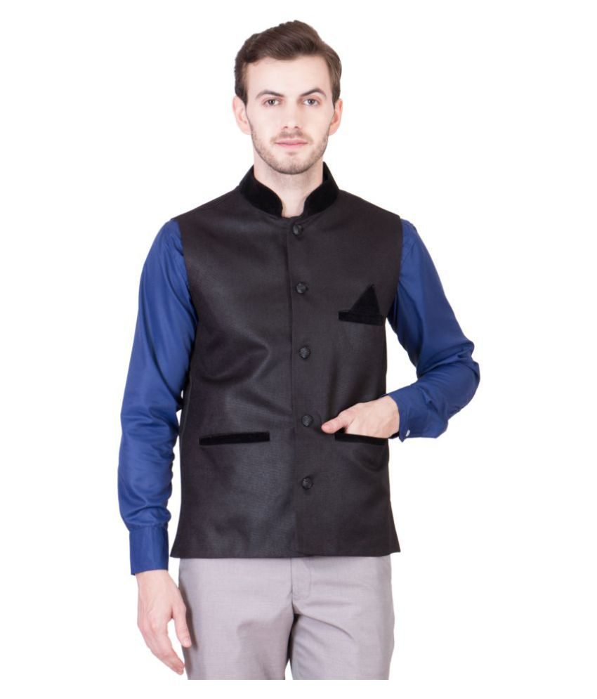 PSK Black Solid Formal Waistcoats