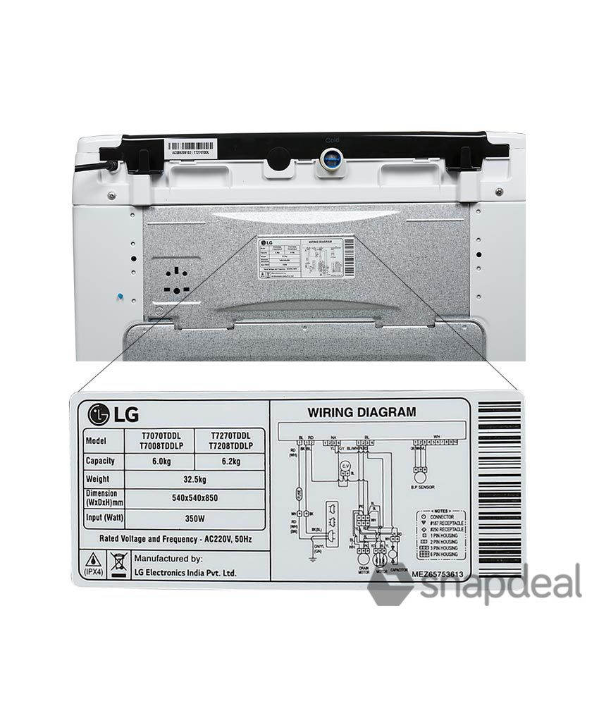 Lg 62 Kg T7270tddl Fully Automatic Top Load Washing Machine Blue Front Loader Wiring Diagram White