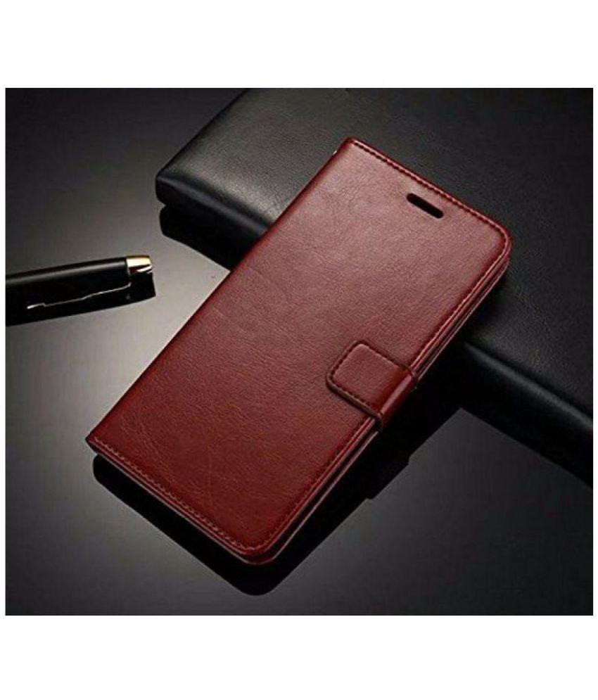 low priced 85f7b 24b58 Samsung Galaxy J7 Prime Flip Cover by NKARTA - Brown