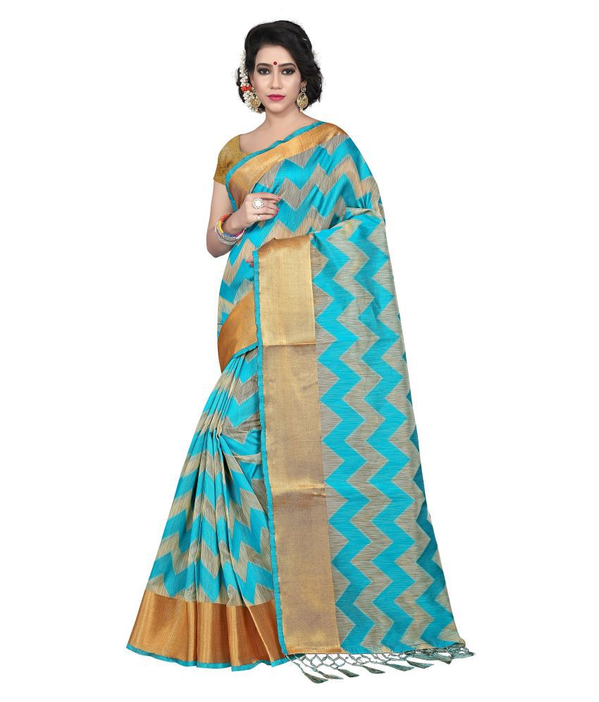 Skyzone Group Turquoise Silk Saree