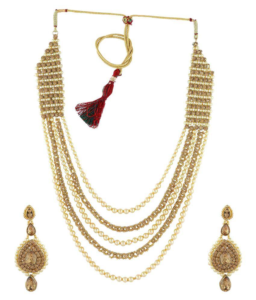Anuradha Art Golden Designer Classy Traditional Long Necklace Set with Maang Tikka