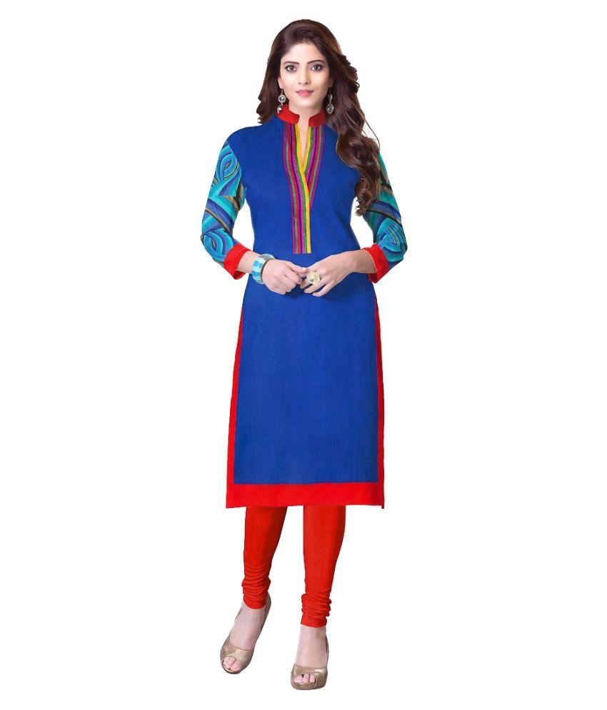 Radhika Creating World Blue Cotton Straight Kurti