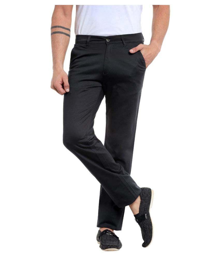 Mayback Black Regular Flat Trousers