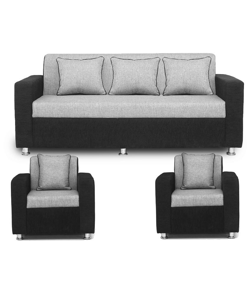 Bls Tulip Black Grey 3 1 1 Sofa Set Buy Bls Tulip Black