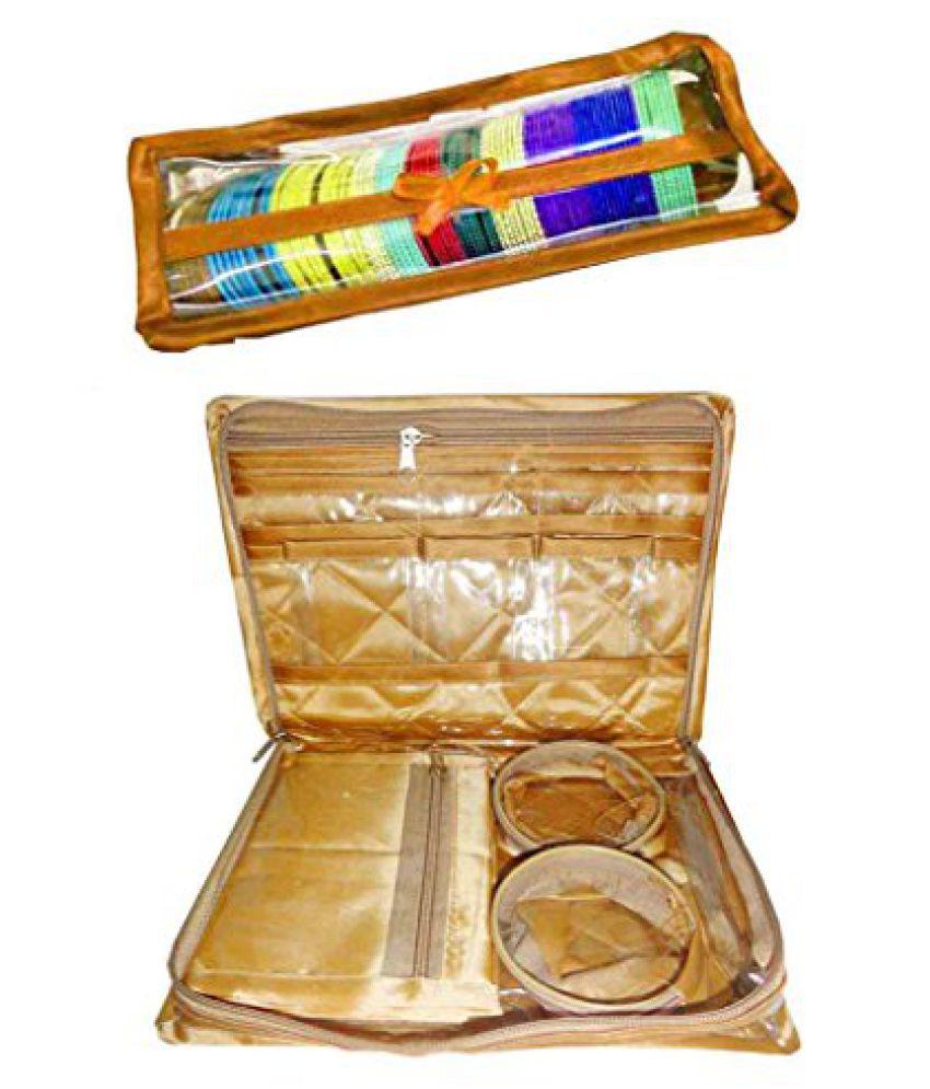Atorakushon Combo Gold Satin 1 Rods Bangle box, Bracelet Jewellery Box With 2 Churi Gold pouch Cover