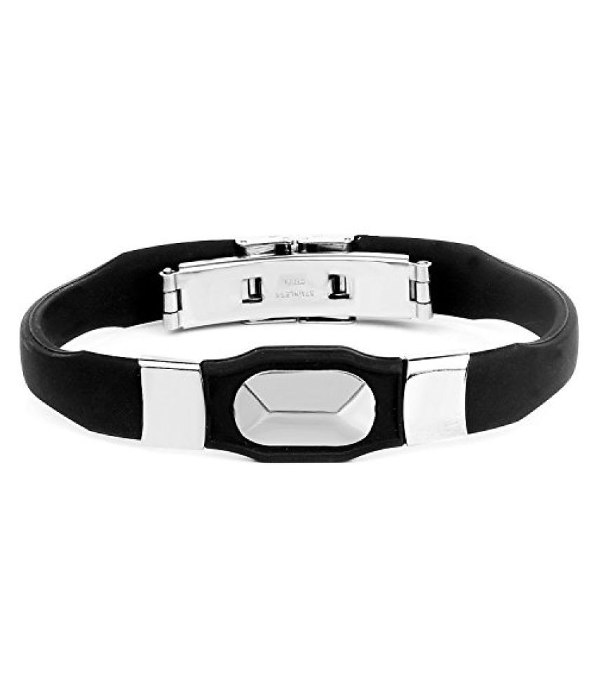 Johareez Silver Tone Men's Band Barcelet In Black PU Leather