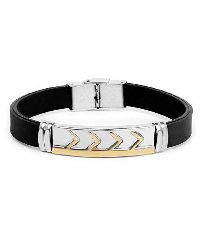 Johareez Silver Tone Men's Band PU Leather Barcelet