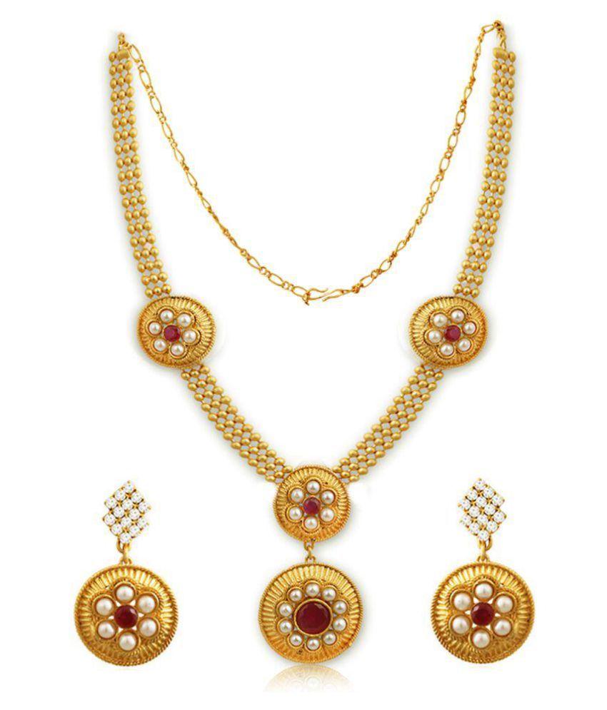Spargz Golden Necklace Set For Women