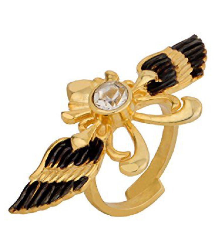 Voylla Golden Bird Shape Statement Ring