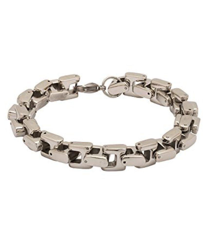 Voylla Heavy Silver Chain Bracelet For Men