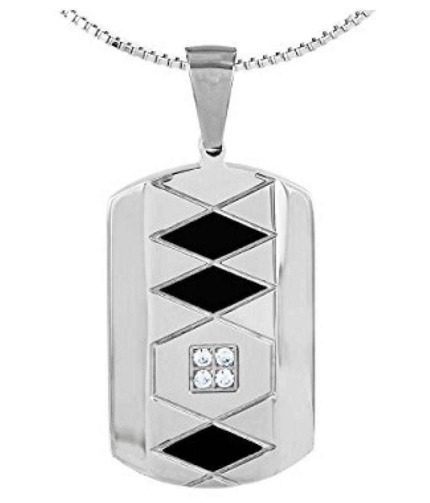 Voylla Sterling Silver Trendy Pendant With Diamond Glittering