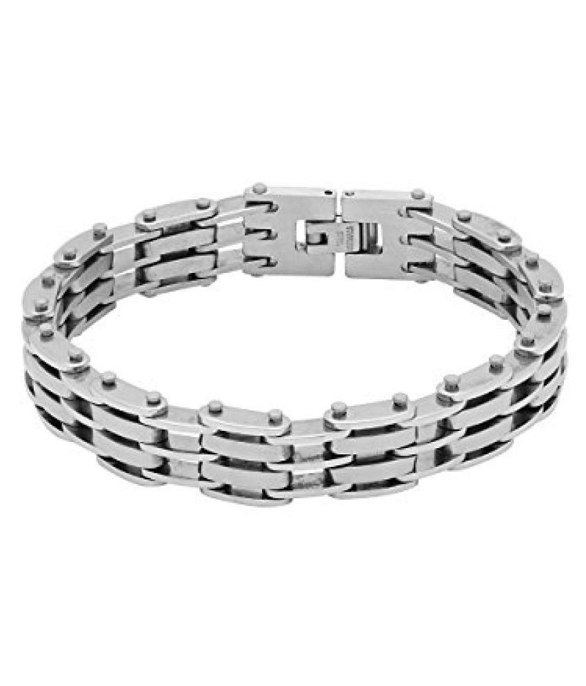 Voylla Stylish Black and Silver Plated Men?s Bracelet