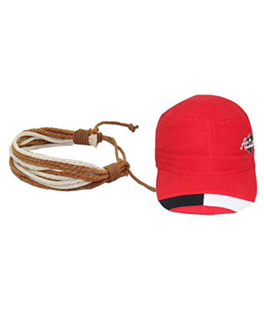 Sushito Brown Thread Hero Wrist Band Combo Red Cap