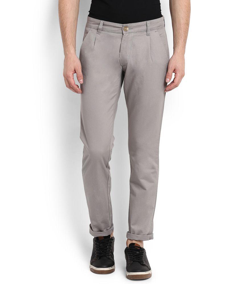People Grey Slim Flat Trousers