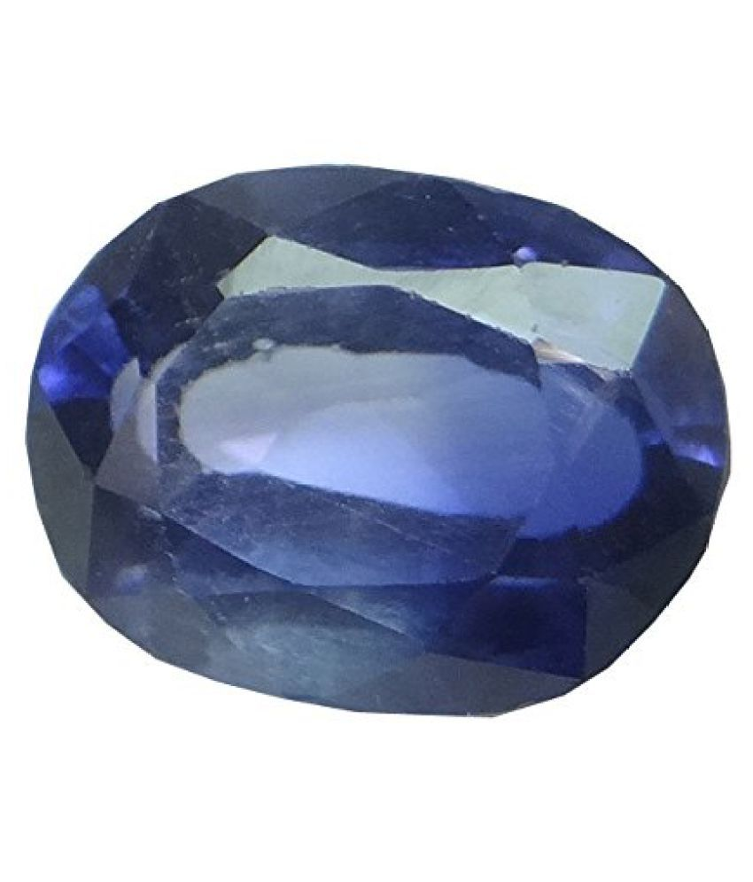 SAPPHIRE 7.17 ct. / 7.96 Ratti PURE & IIGS CERTIFIED SYNTHETIC SAPPHIRE ASTROLOGICAL GEMSTONE BY ARIHANT GEMS AND JEWELS