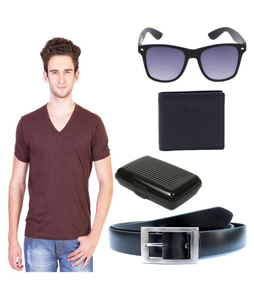 Knightly Fashion Brown V-Neck T-Shirt with Wallet, Belt, Sunglasses and Cardholder