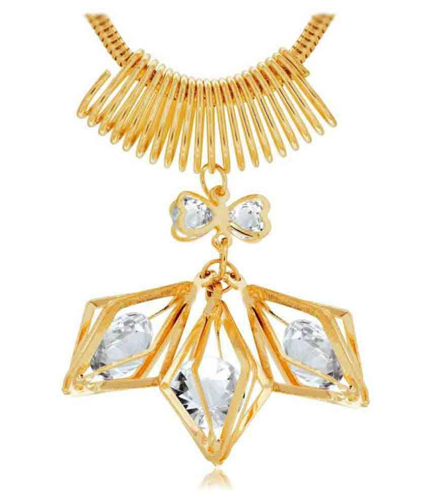 Spargz Alloy Golden American Diamond Pendant For Women