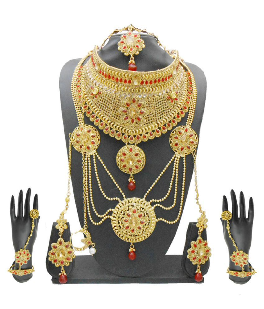 2acca0be6 My Design Traditional Bridal Gold Plated Red Kundan Jewellery Set - Buy My  Design Traditional Bridal Gold Plated Red Kundan Jewellery Set Online at  Best ...