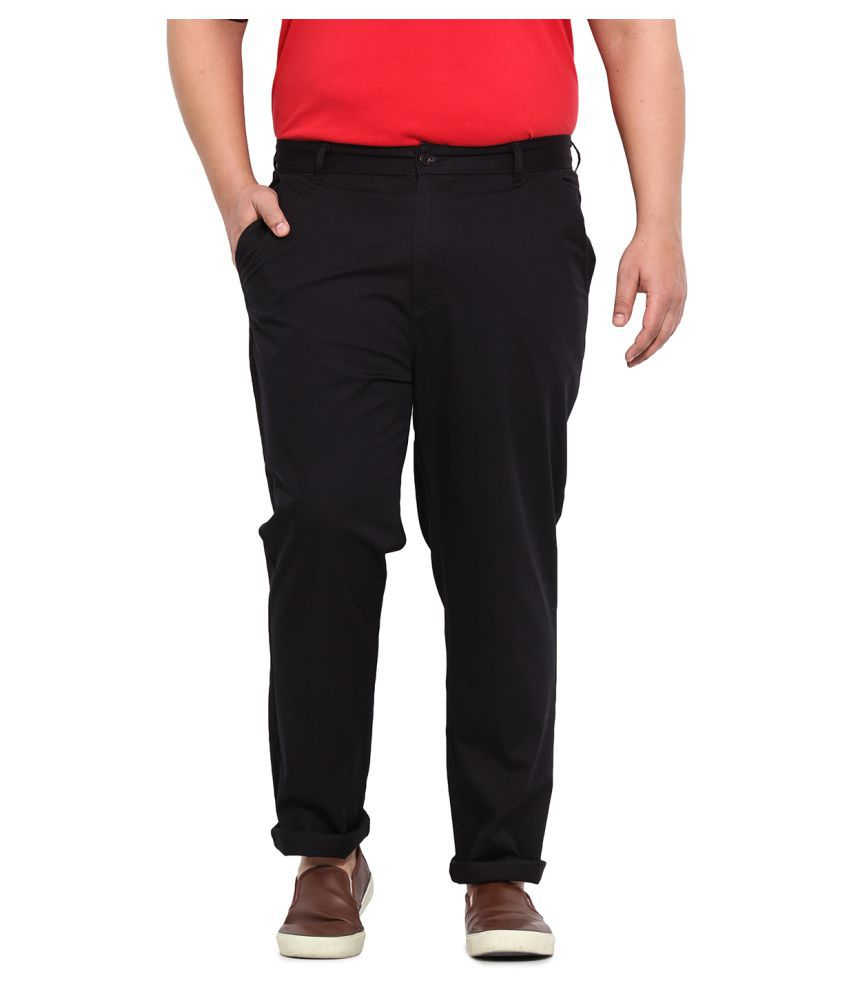John Pride Black Slim Flat Trousers