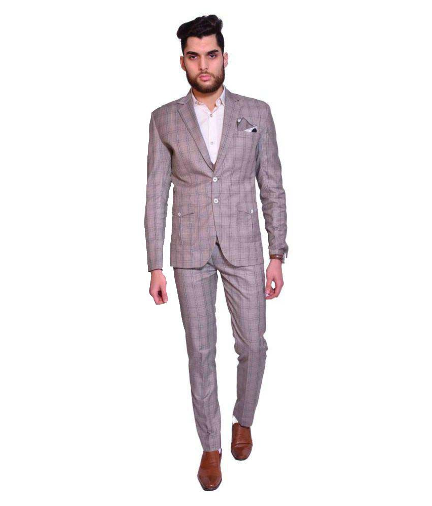 Manu Couture Brown Checks Wedding 3 Piece Suits