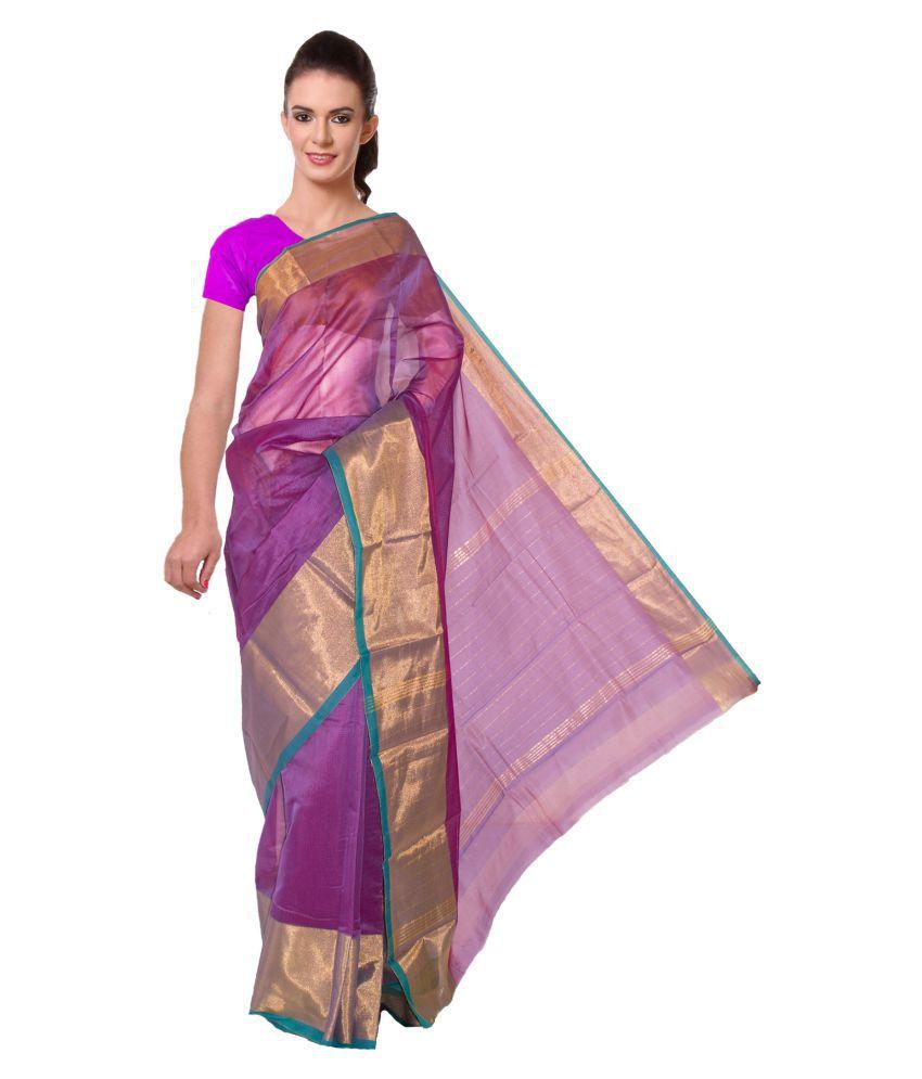 BrindavanSilks Purple Cotton Saree