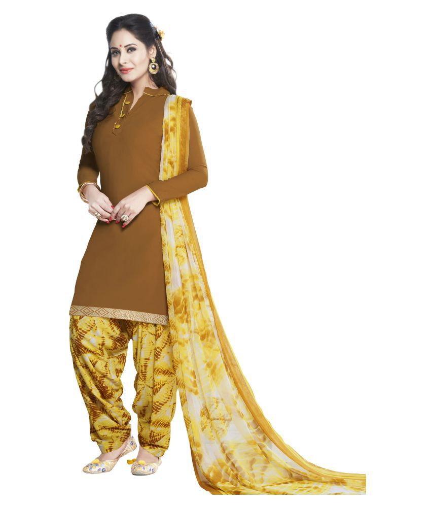 Shree Jeenmata Collection Brown Synthetic Dress Material