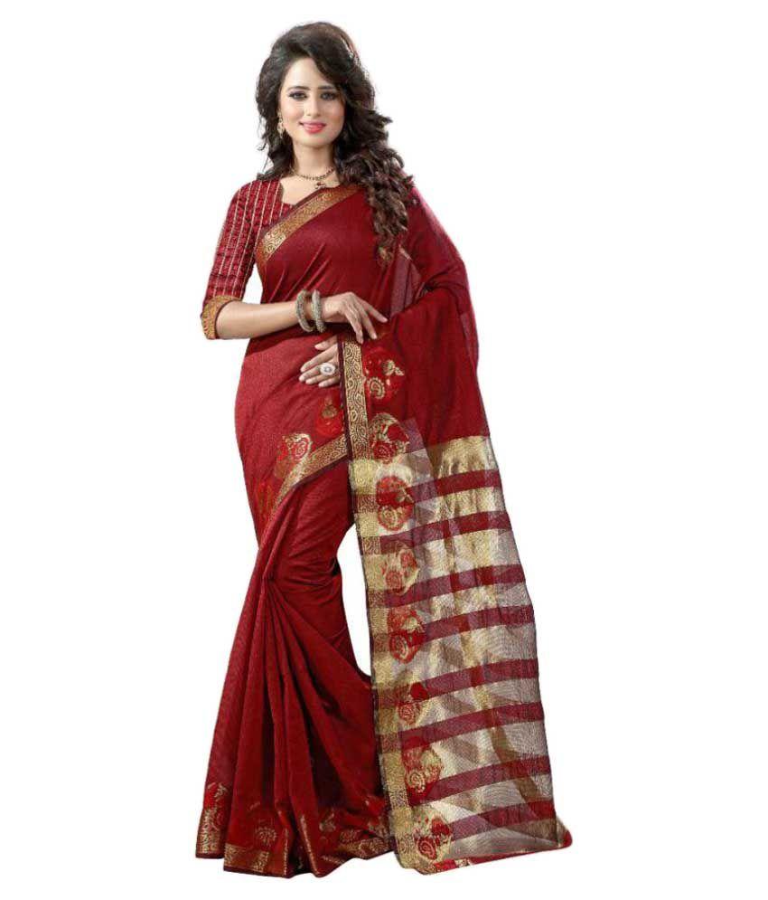 Shopaholic Enterprise Maroon Tussar Silk Saree