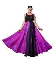 Well Tex Purple Bhagalpuri Silk Semi Stitched Kurti