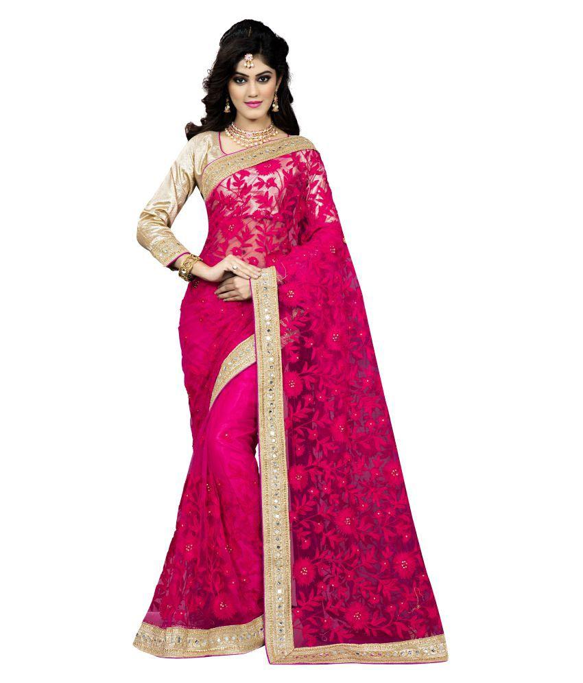 Soru Fashion Pink Net Saree
