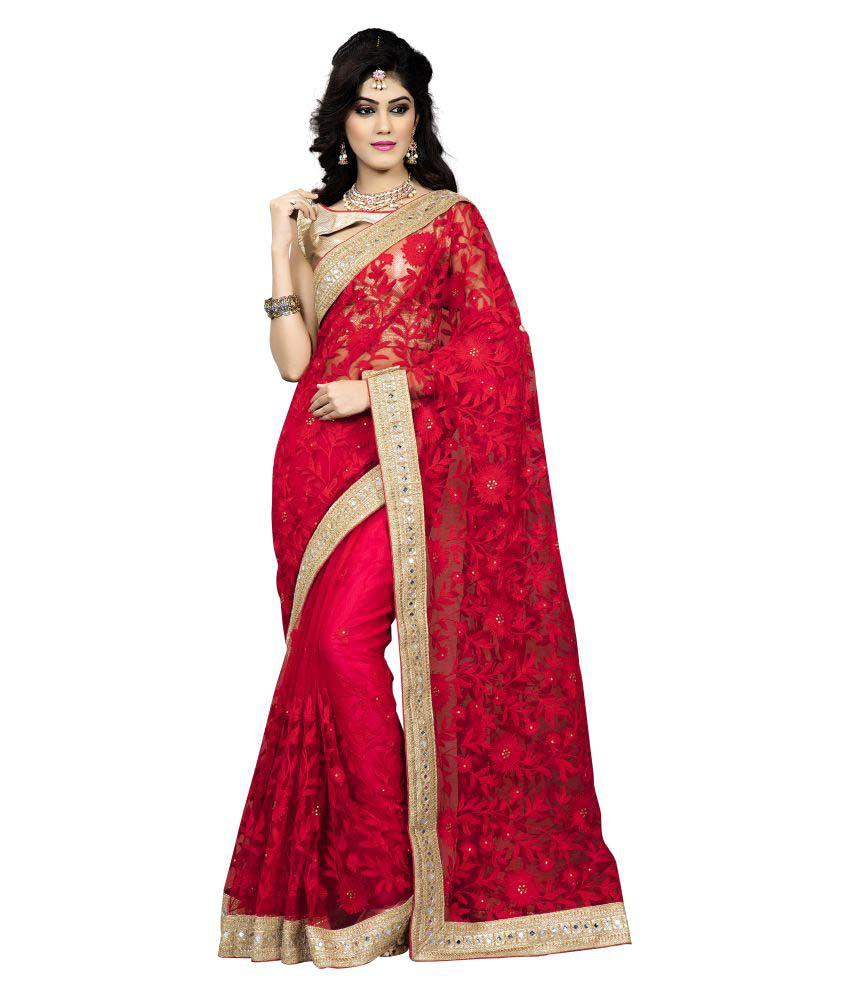 Soru Fashion Red and Beige Net Saree