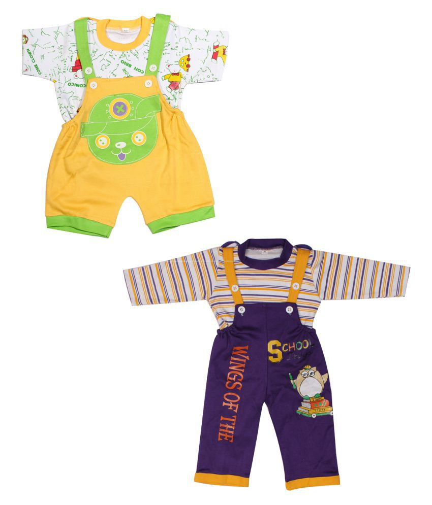 Babeezworld Multicolor baby dungaree Set - Pack of 2