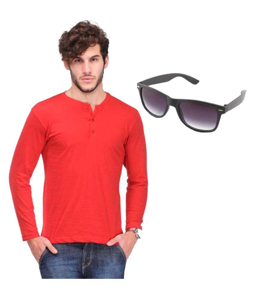 Van Galis Red Henley T-Shirt