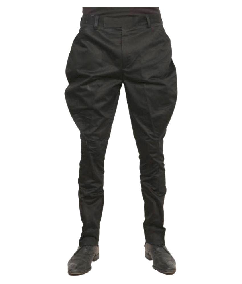 Vinay Collection Black Slim Flat Jodhpuri Pants