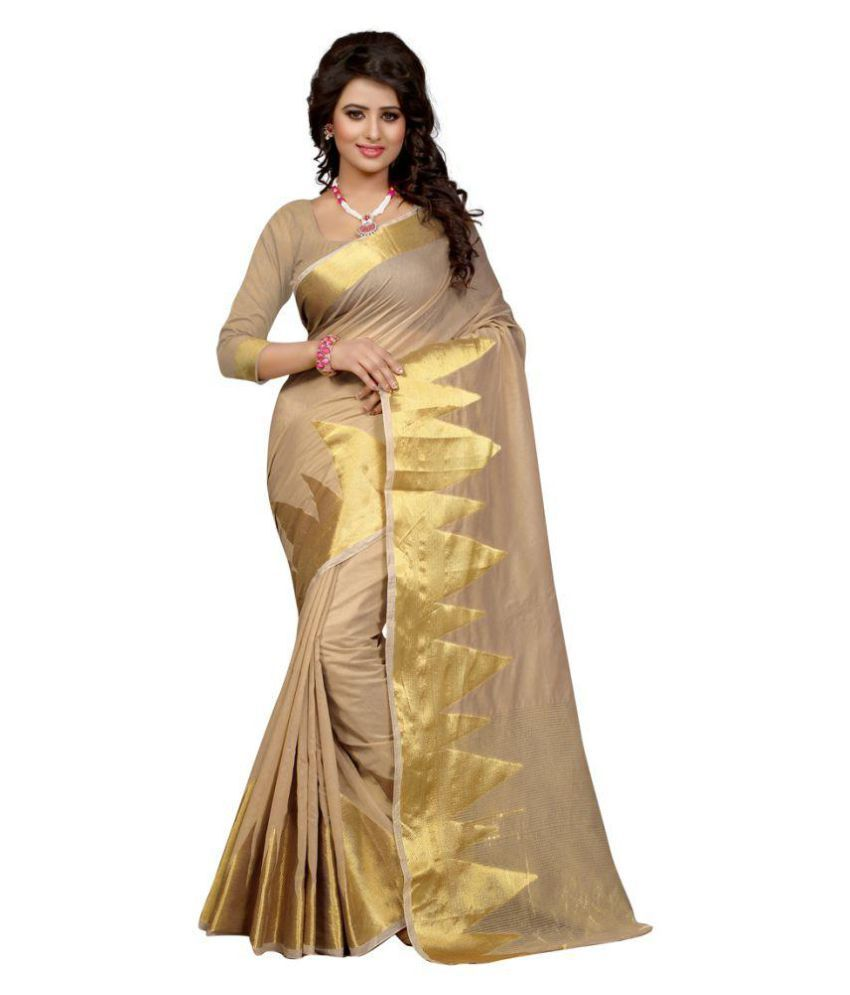 Womaniya Ethnic Beige Polyester Saree