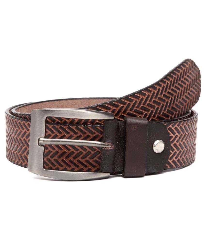 U+N Brown Leather Casual Belts