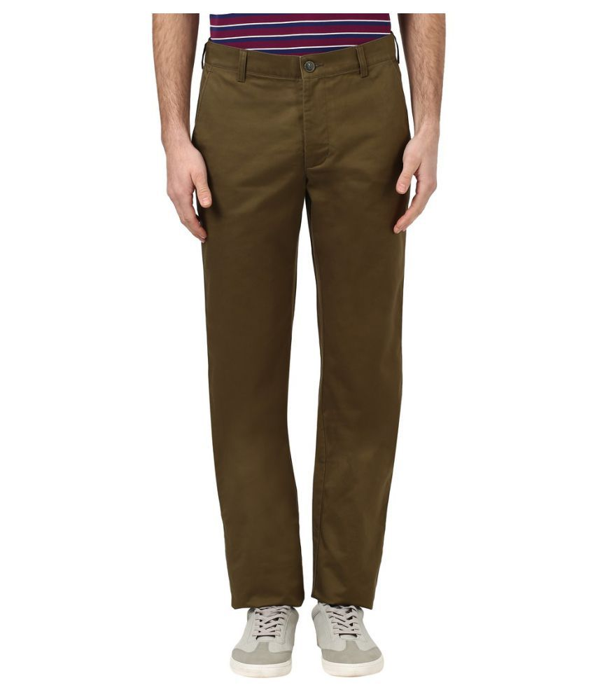 Colorplus Green Regular Flat Trousers