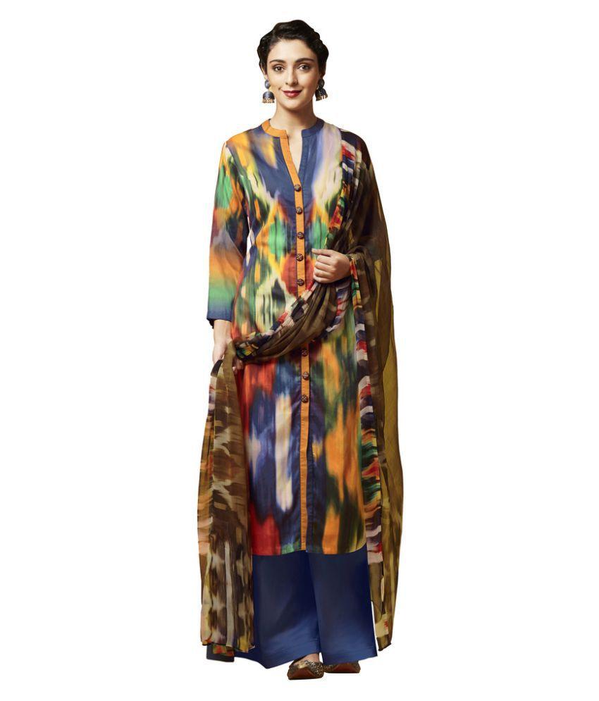 Viva N Diva Multicoloured Satin Dress Material