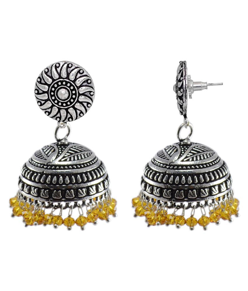 Silvesto India Indian Religion God Round Earrings Jewelry Citrine Crystal BeadsHandmade Jhumki-Dangle Jewellery PG-32670