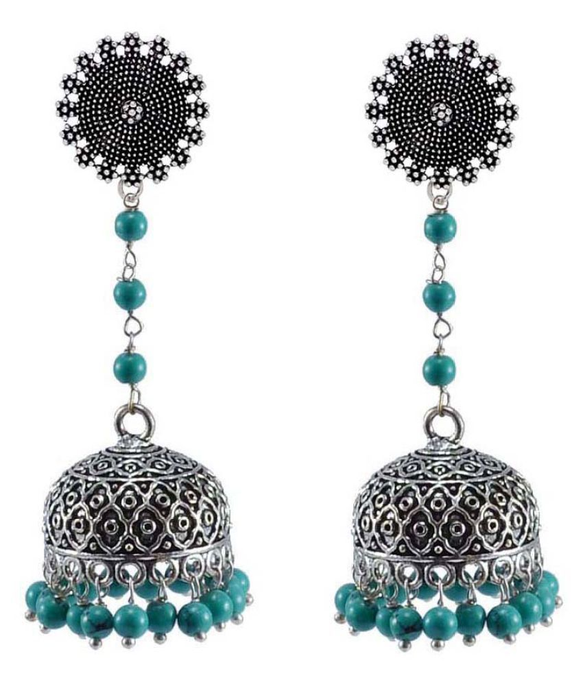 Indian Earrings Jhumki with Hanging Turquoise Beads - PG-32912