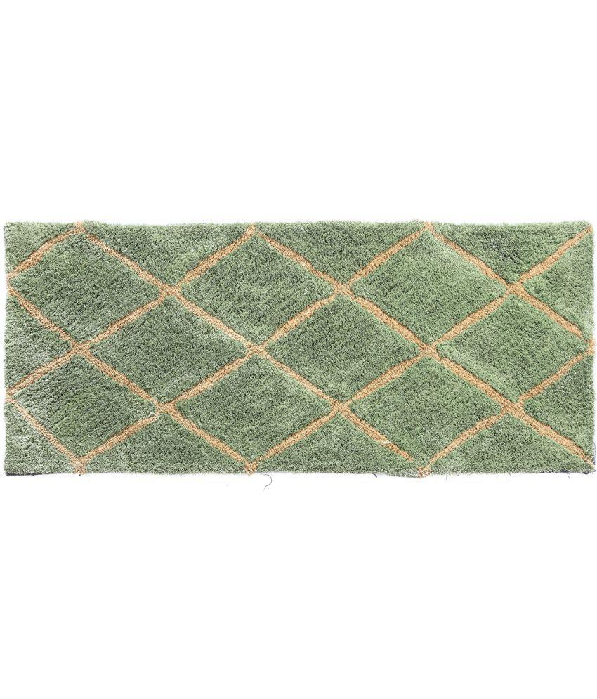 HomeFurry Green Runner Single Polyester Checks
