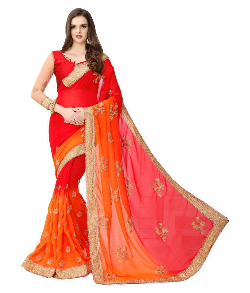 Lexon Collection Red and Orange Georgette Saree