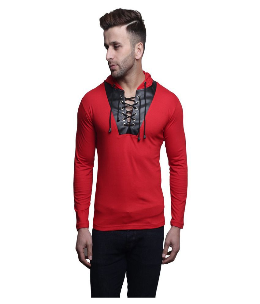 Leana Red Hooded T-Shirt