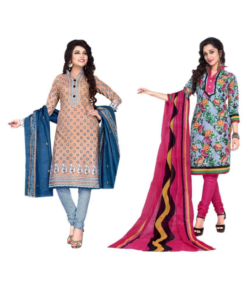 Sahari Designs Pink and Grey Cotton Dress Material