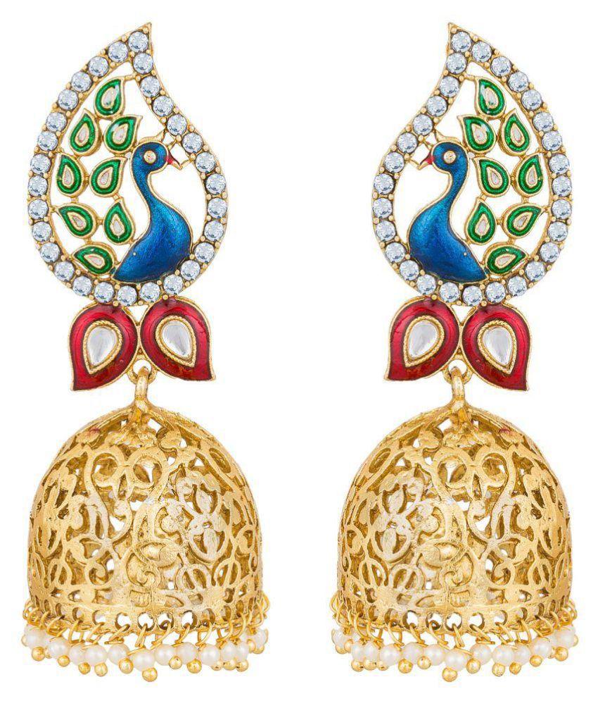 The Luxor Peacock Design Golden Jhumar