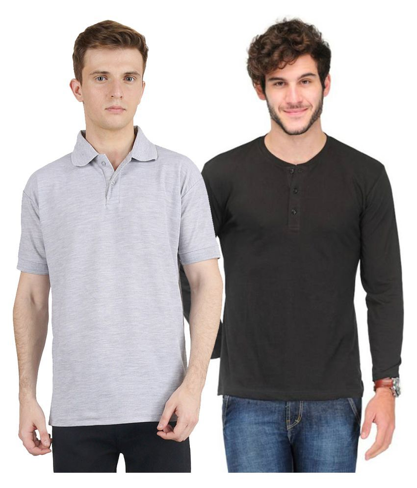 Van Galis Black Henley T-Shirt Pack of 2
